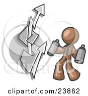 Clipart Illustration Of A Brown Business Man Spray Painting A Graffiti Dollar Sign On A Wall