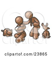 Clipart Illustration Of A Brown Family Father Mother And Newborn Baby With Their Dog And Cat by Leo Blanchette