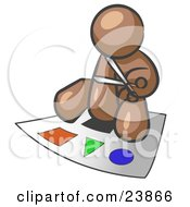 Clipart Illustration Of A Brown Man Holding A Pair Of Scissors And Sitting On A Large Poster Board With Colorful Shapes