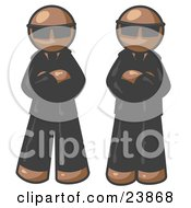 Clipart Illustration Of Two Brown Men Standing With Their Arms Crossed Wearing Sunglasses And Black Suits by Leo Blanchette