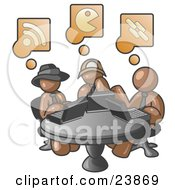 Clipart Illustration Of Three Brown Men Using Laptops In An Internet Cafe