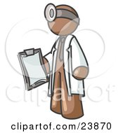 Brown Male Doctor Holding A Clipboard And Wearing A Head Lamp