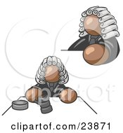 Clipart Illustration Of A Brown Judge Man Wearing A Wig In Court