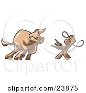 Clipart Illustration Of A Brown Man Holding A Stool And Whip While Taming A Bull Bull Market by Leo Blanchette