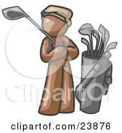 Brown Man Standing By His Golf Clubs