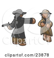 Clipart Illustration Of A Brown Man Challenging Another Brown Man To A Duel With Pistils