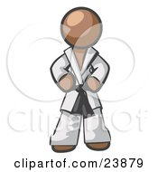Clipart Illustration Of A Tough Brown Man In A White Karate Suit And A Black Belt Standing With His Hands On His Hips