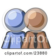 Clipart Illustration Of A Blue Person Standing Beside A Brown Businessman Symbolizing Teamwork Or Mentoring