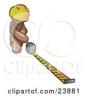 Clipart Illustration Of A Brown Man Contractor Wearing A Hardhat Kneeling And Measuring