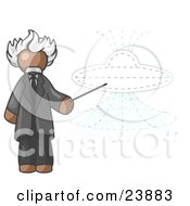 Brown Einstein Man Pointing A Stick At A Presentation Of A Flying Saucer