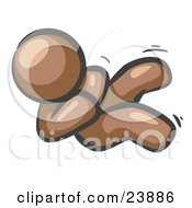 Clipart Illustration Of A Happy Brown Man Rolling On The Floor And Giggling With Laughter by Leo Blanchette