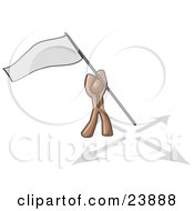 Brown Man Claiming Territory Or Capturing The Flag by Leo Blanchette