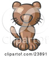 Clipart Illustration Of A Cute Brown Kitty Cat Looking Curiously At The Viewer