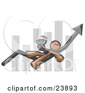 Clipart Illustration Of A Brown Business Owner Man Relaxing On An Increase Bar And Drinking Finally Taking A Break by Leo Blanchette