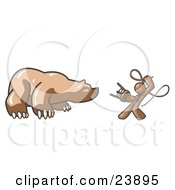Clipart Illustration Of A Brown Man Holding A Stool And Whip While Taming A Bear Bear Market by Leo Blanchette
