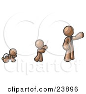 Clipart Illustration Of A Brown Man In His Growth Stages Of Life As A Baby Child And Adult