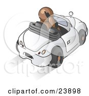 Clipart Illustration Of A Brown Businessman Talking On A Cell Phone While Driving In A White Convertible Car