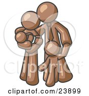 Clipart Illustration Of A Brown Family Man A Father Hugging His Wife And Two Children by Leo Blanchette