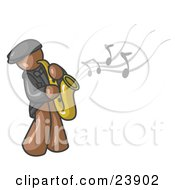 Clipart Illustration Of A Musical Brown Man Playing Jazz With A Saxophone