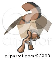 Clipart Illustration Of A Brown Man Carrying A Heavy Question Mark In A Box by Leo Blanchette