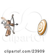 Clipart Illustration Of A Brown Man Aiming A Bow And Arrow At A Target During Archery Practice