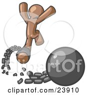 Clipart Illustration Of A Brown Man Jumping For Joy While Breaking Away From A Ball And Chain Symbolizing Freedom From Debt Or Divorce by Leo Blanchette