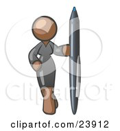 Clipart Illustration Of A Brown Woman In A Gray Dress Standing With One Hand On Her Hip Holding A Huge Pen