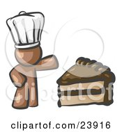 Clipart Illustration Of A Brown Chef Man Wearing A White Hat And Presenting A Tasty Slice Of Chocolate Frosted Cake by Leo Blanchette