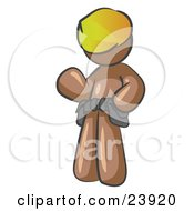 Friendly Brown Construction Worker Or Handyman Wearing A Hardhat And Tool Belt And Waving by Leo Blanchette