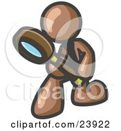 Clipart Illustration Of A Brown Man Bending Over To Inspect Something Through A Magnifying Glass