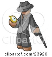 Clipart Illustration Of A Brown Businessman Checking His Pocket Watch