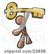 Clipart Illustration Of A Brown Businessman Holding A Large Golden Skeleton Key Symbolizing Success