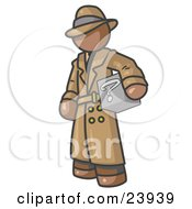 Clipart Illustration Of A Secretive Brown Man In A Trench Coat And Hat Carrying A Box With A Question Mark On It