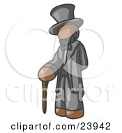 Clipart Illustration Of A Brown Man Depicting Abraham Lincoln With A Cane by Leo Blanchette