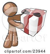 Clipart Illustration Of A Thoughtful Brown Man Holding A Christmas Birthday Valentines Day Or Anniversary Gift Wrapped In White Paper With Red Ribbon And A Bow