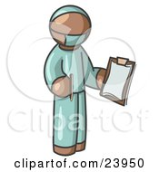 Brown Surgeon Man In Green Scrubs Holding A Pen And Clipboard