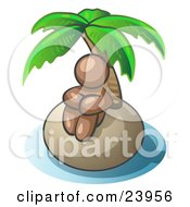 Clipart Illustration Of A Brown Man Sitting All Alone With A Palm Tree On A Deserted Island