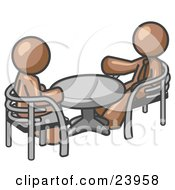Clipart Illustration Of Two Brown Business Men Sitting Across From Eachother At A Table During A Meeting