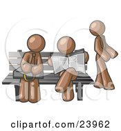 Clipart Illustration Of Brown Men At A Bench At A Bus Stop