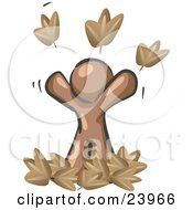 Clipart Illustration Of A Carefree Brown Man Tossing Up Autumn Leaves In The Air Symbolizing Happiness And Freedom