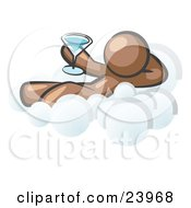 Clipart Illustration Of A Relaxed Brown Man Drinking A Martini And Kicking Back On Cloud Nine by Leo Blanchette