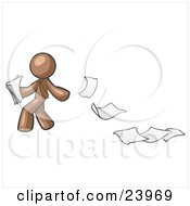 Clipart Illustration Of A Brown Man Dropping White Sheets Of Paper On A Ground And Leaving A Paper Trail Symbolizing Waste