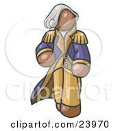 Clipart Illustration Of A Brown George Washington Character by Leo Blanchette