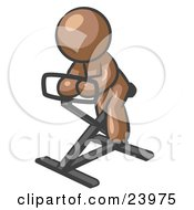 Clipart Illustration Of A Brown Man Exercising On A Stationary Bicycle