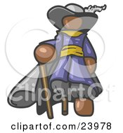 Clipart Illustration Of A Brown Male Pirate With A Cane And A Peg Leg
