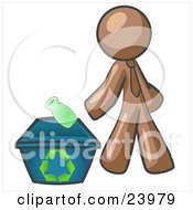Clipart Illustration Of A Brown Man Tossing A Plastic Container Into A Recycle Bin Symbolizing Someone Doing Their Part To Help The Environment And To Be Earth Friendly