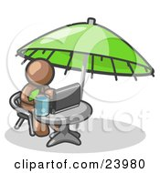 Clipart Illustration Of A Traveling Brown Business Man Sitting Under An Umbrella At A Table Using A Laptop Computer by Leo Blanchette