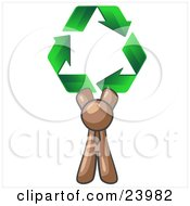 Clipart Illustration Of A Brown Man Holding Up Three Green Arrows Forming A Triangle And Moving In A Clockwise Motion Symbolizing Renewable Energy And Recycling