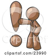 Clipart Illustration Of A Brown Businessman Standing By A Large Exclamation Point