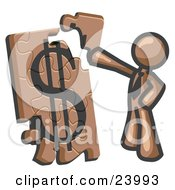 Clipart Illustration Of A Brown Businessman Putting A Dollar Sign Puzzle Together
